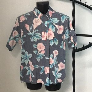 Pink Floral Hawaiian Shirt by Reyn Spooner (L)